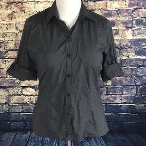 New York & Company Stretch Button Blouse Size L